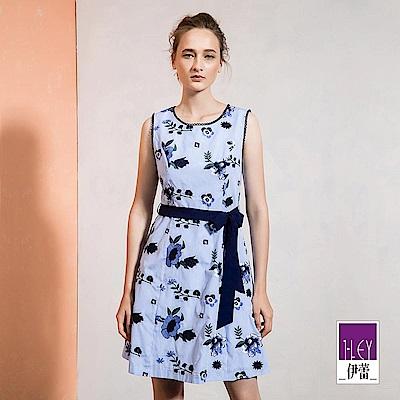 ILEY伊蕾 修身立裁刺繡花朵條紋洋裝(藍)