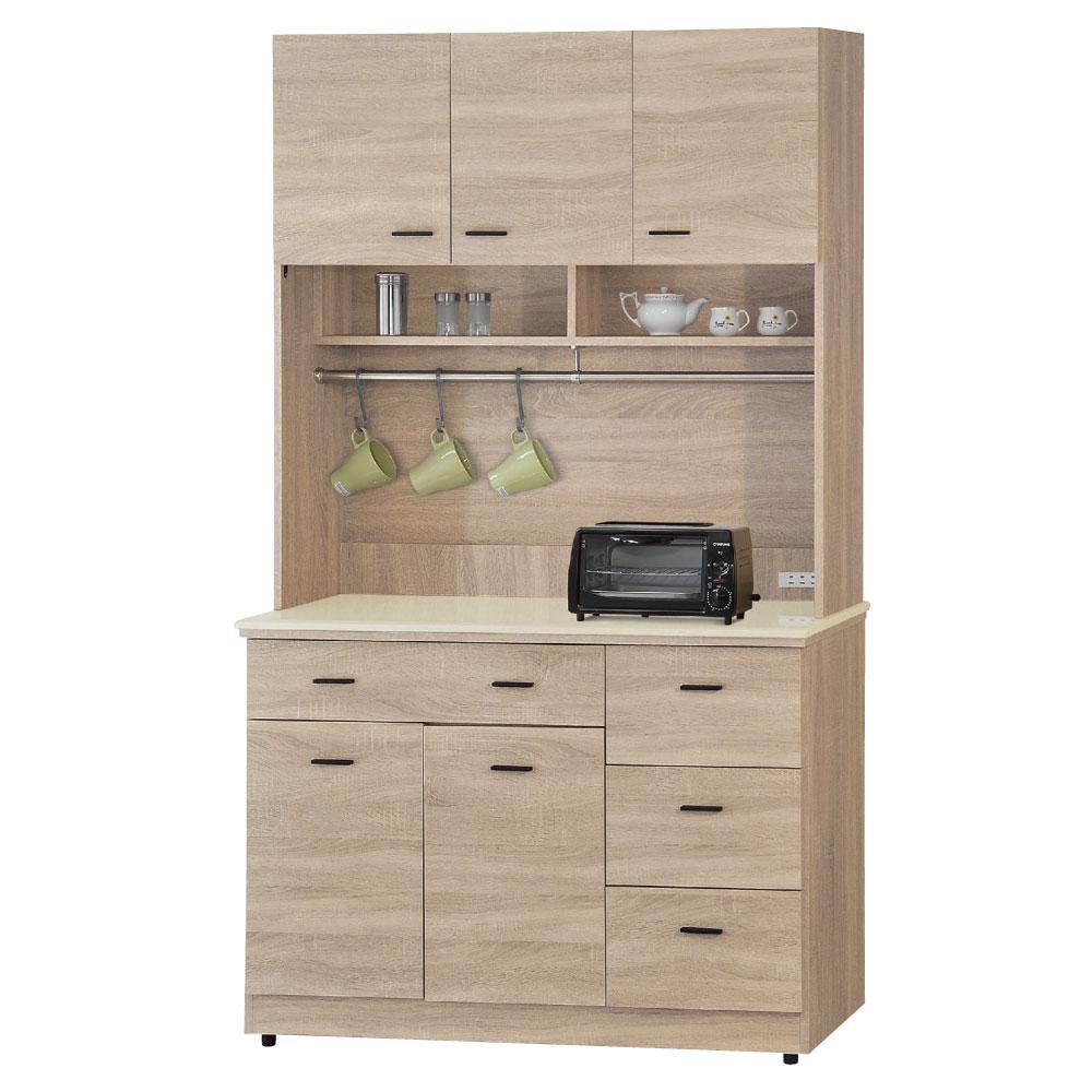 品家居 北國4尺橡木色石面餐櫃組合-121x46.5x200cm-免組