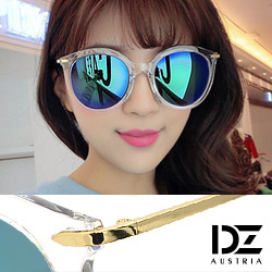 DZ 纖細線調 抗UV造型太陽眼鏡墨鏡(透框彩藍膜)