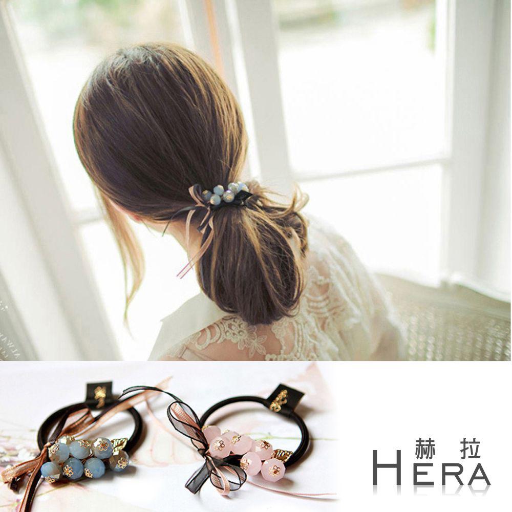 Hera  手工水晶串珠蝴蝶結髮圈/髮束(兩色)