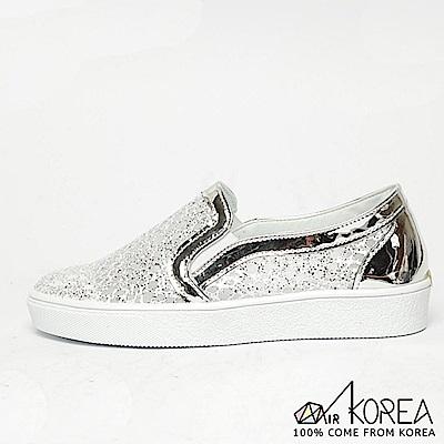 【AIRKOREA】韓國空運鏤空蕾絲休閒增高鞋 銀