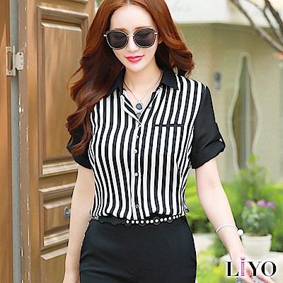 襯衫直紋黑白撞色OL合身顯瘦襯衫LIYO理優E815018 S-XL