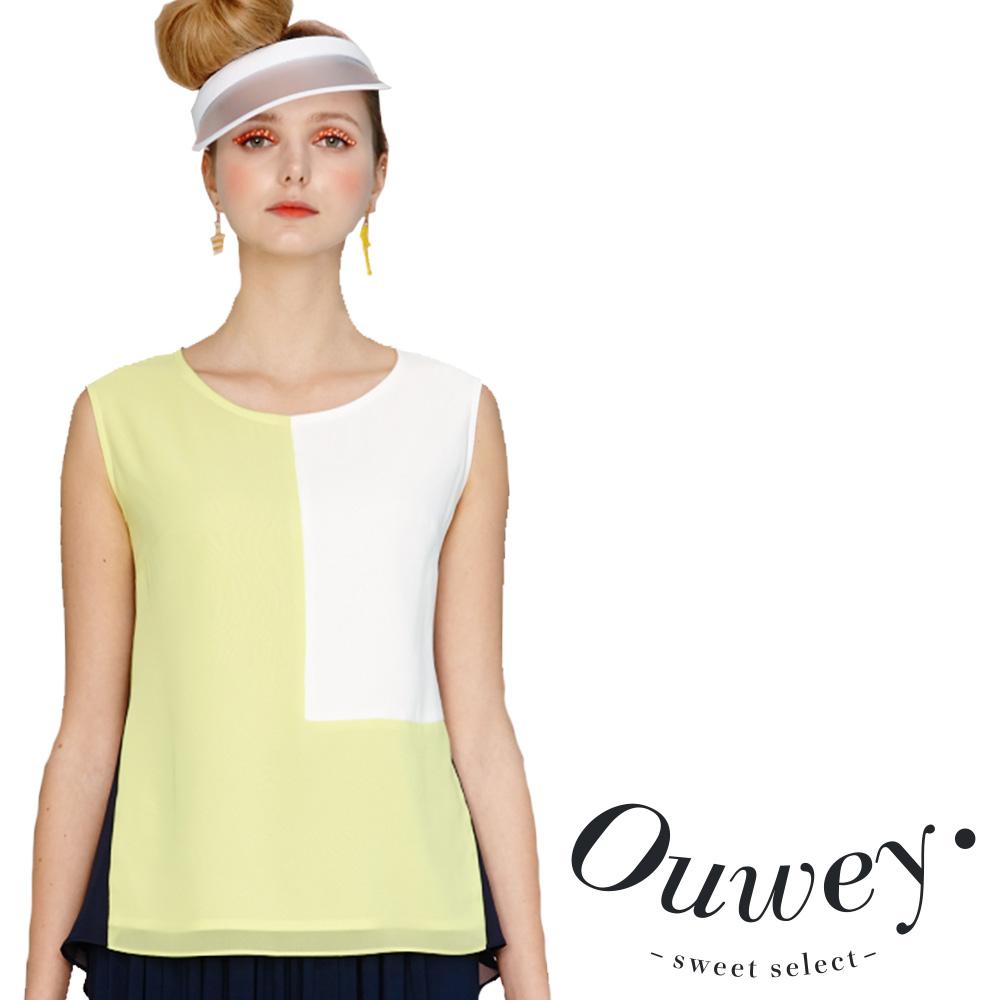 OUWEY歐薇 時尚方塊雪紡無袖上衣