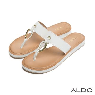 ALDO-原色寬版水滴造型金屬鏤空夾腳涼鞋-氣質白