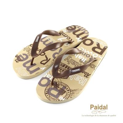 Paidal 男款塗鴉風人文羅馬夾腳拖海灘拖人字拖鞋-卡其