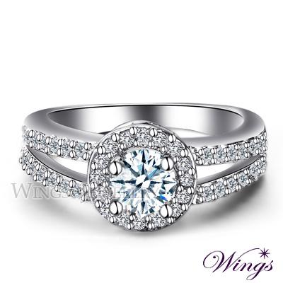 Wings 維多利亞 經典環鑽設計 完美八心八箭方晶鋯石精鍍白K金戒指 女戒