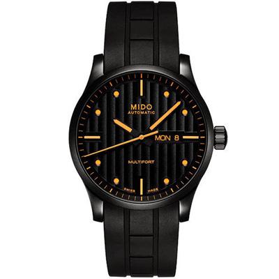 MIDO Multifort先鋒系列直紋復刻機械腕錶-42mm/黑色