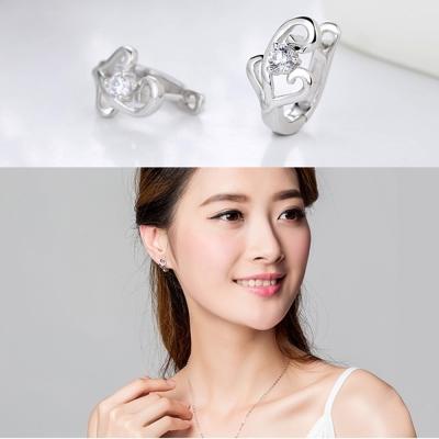 梨花HaNA 精緻工藝925銀鋯石施華洛LOVE耳環