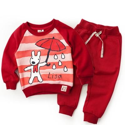 GL法國 優質萌系童趣紅色長袖休閒套裝2件組