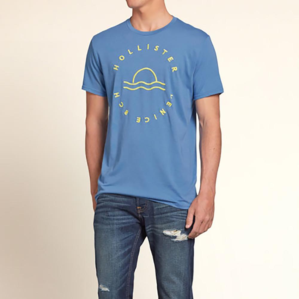 HOLLISTER Co. 男裝 黃色日出短T恤(藍)-薄款