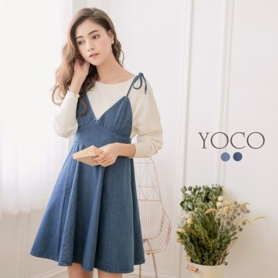 東京著衣-yoco 甜心女孩細肩綁帶口袋牛仔洋裝-S.M.L(共二色)