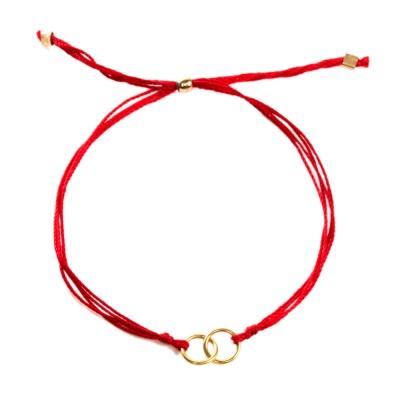 Dogeared Friendship 圓滿如意雙環結心心相印 手鍊 金墜紅色繩