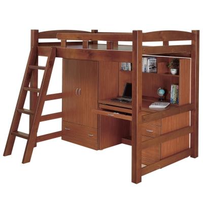 Bernice-喬利多功能高層床組(含床架+衣櫃+書桌)