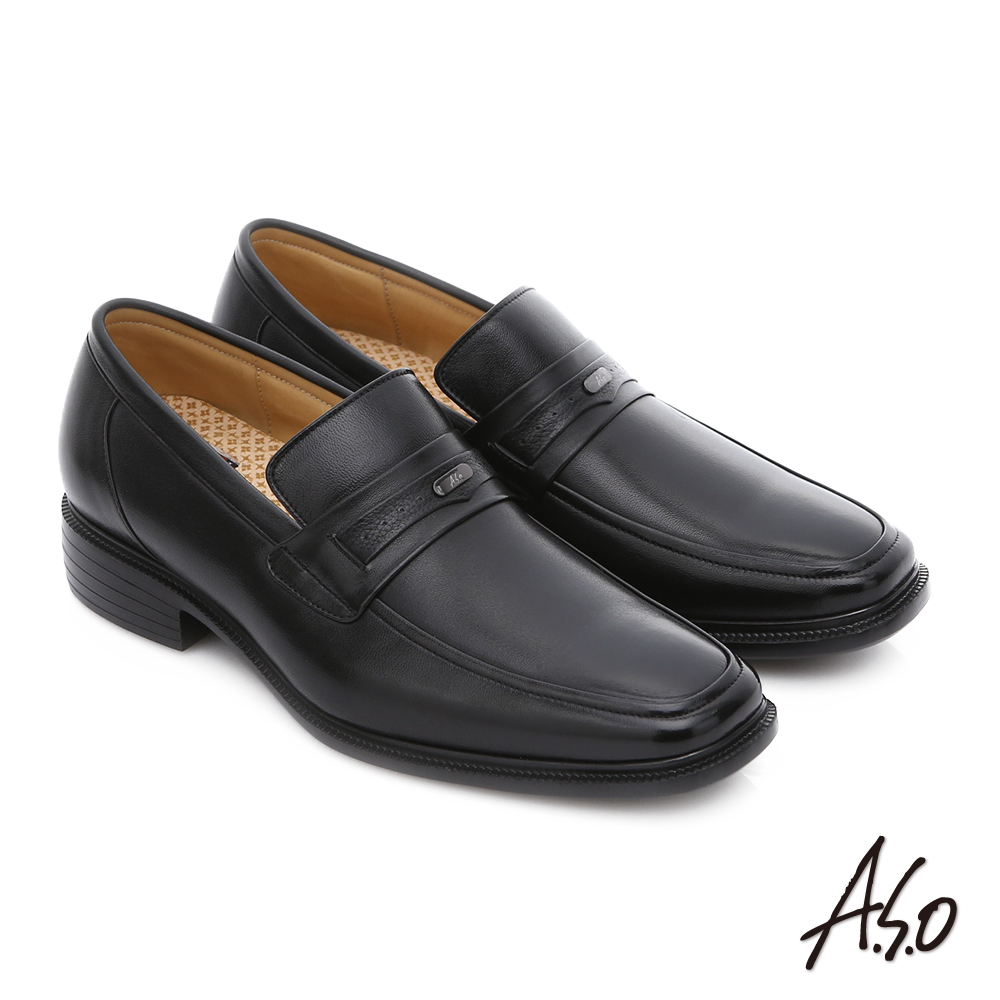 A.S.O 輕旅健步 純羊皮直套式奈米氣墊皮鞋 黑