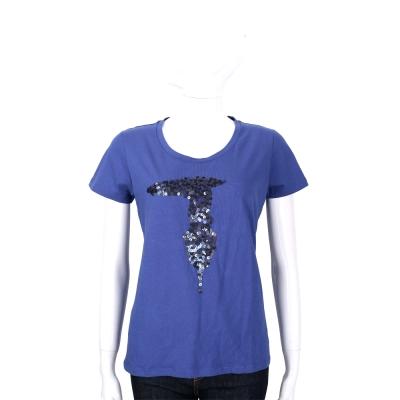 TRUSSARDI 藍色亮片LOGO棉質短袖T恤