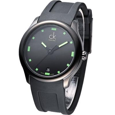 cK Visible 酷黑運動風時尚腕錶-IP黑x綠時標/40mm
