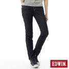 EDWIN 窄直筒 EG繡邊牛仔褲-女-原藍色