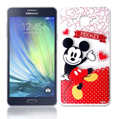 迪士尼 三星 Galaxy A7休閒點點透明軟式手機殼(經典組)