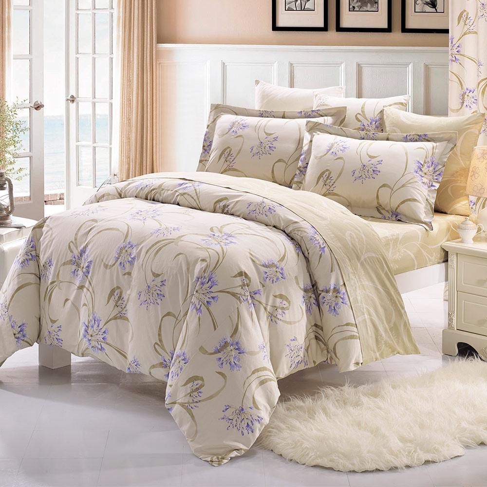 鴻宇HongYew 100%精梳棉 范麗西亞 雙人加大四件式兩用被床包組