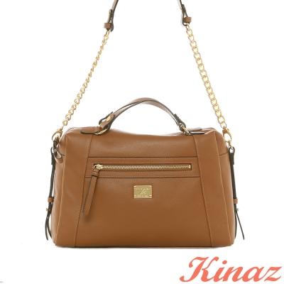 KINAZ-小貴婦-嬌貴氣息真皮2way包-淡咖啡