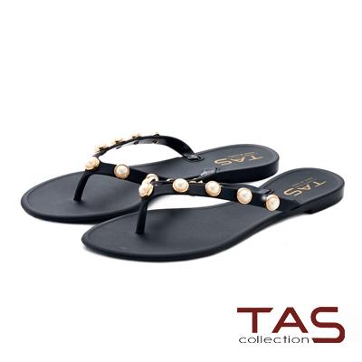 TAS 立體珍珠人字平底夾腳拖鞋-率性黑