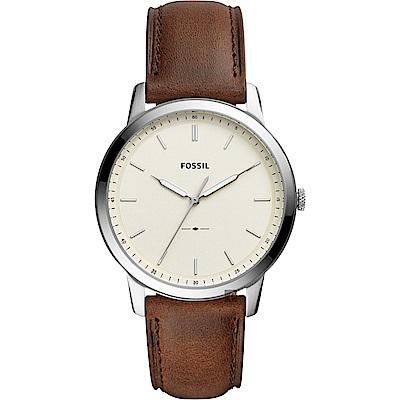 FOSSIL Minimalist 薄型簡約手錶(FS5439)-銀x咖啡/44mm