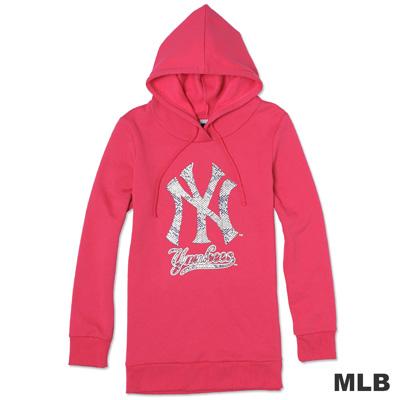 MLB-紐約洋基隊蛇紋造型印花連帽T-深粉紅(女)