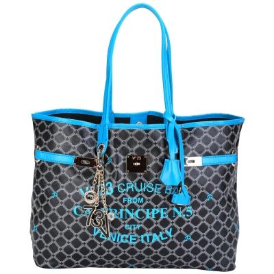 V73 CRUISE 菱格圖騰轉印設計購物包(藍色/小) @ Y!購物