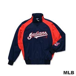 MLB-克里夫蘭印地安人隊撞色立領內刷毛棒球外套-深藍色(男)
