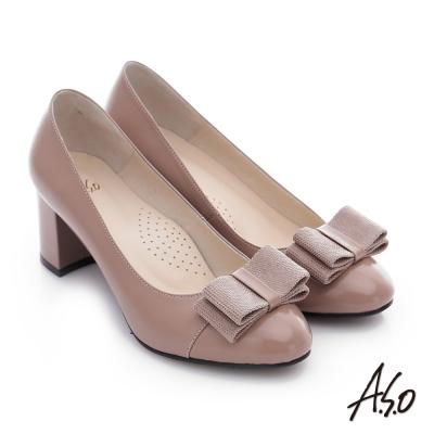 A.S.O 注目嬌點 全真皮蝴蝶結窩心粗跟高跟鞋 卡其色