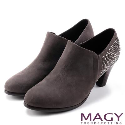 MAGY 紐約時尚步調 高質感燙鑽牛皮高跟鞋-灰色