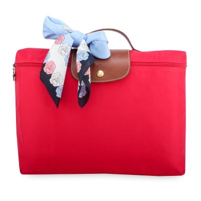 Longchamp Le Piage拉鍊尼龍摺疊公事包-玫瑰紅色(加贈帕巾)