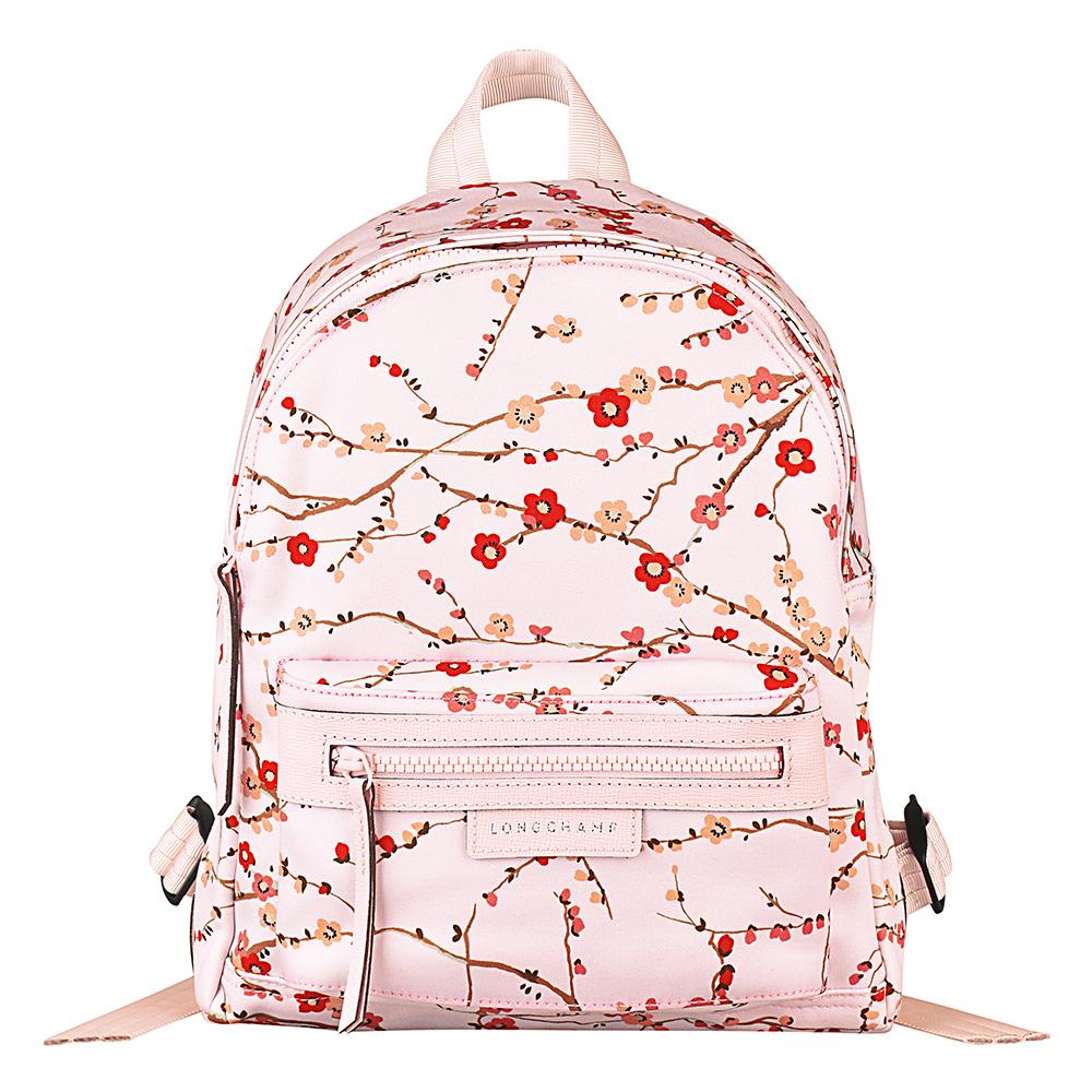 LONGCHAMP Fantaisie Sakura系列櫻花印花尼龍拉鍊後背包小玫瑰粉
