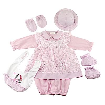 愛的世界 純棉小兔蜻蜓兩件式兩用嬰衣6件組禮盒/3M~1歲
