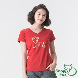 【SNOWFOX 雪狐】生命奇蹟陳寧悅聯名圖T恤/女款V領短袖 AT-81620W紅