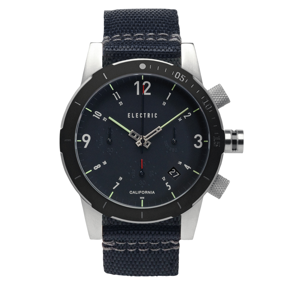 ELECTRIC FW02系列-復古強悍三眼計時腕錶-黑面x黑帆布帶/44mm @ Y!購物