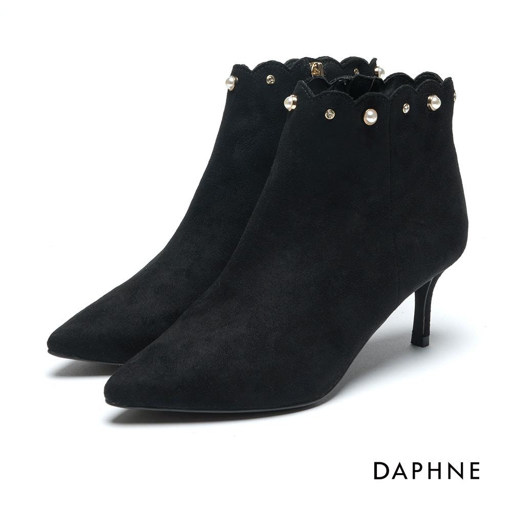 達芙妮DAPHNE 短靴-絨布花邊珠飾鉚釘高跟踝靴-黑