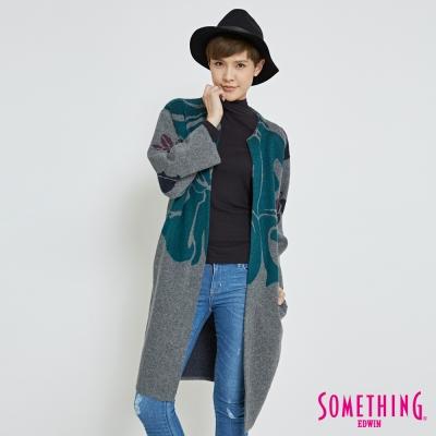 SOMETHING 鳶尾花毛衣針織外套-女-麻灰