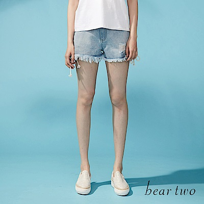 beartwo 自然刷破感側綁帶造型短褲(藍色)