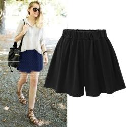 La Belleza素色側口袋腰鬆緊短褲褲裙