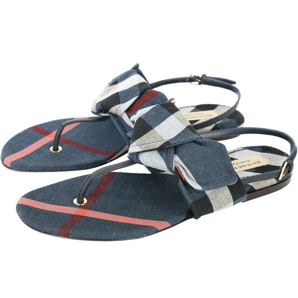 BURBERRY 格紋蝴蝶結飾夾腳涼鞋(藍色)