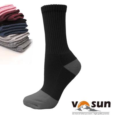 【台灣 VOSUN】 MIT 頂級控溫保暖中筒美麗諾羊毛襪_黑色