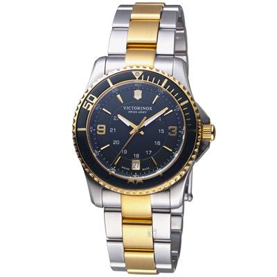 VICTORINOX 瑞士維氏Maverick GS系列潛水女腕錶-銀色X金色/34mm