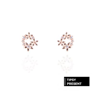 微醺禮物 耳環 正韓 銀針 鍍K金 鋯石 小小花朵圍成圈