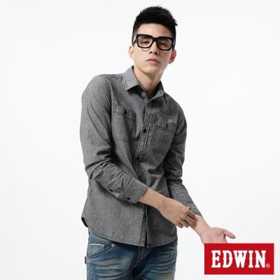 EDWIN 襯衫 印花牛津襯衫-男-黑色