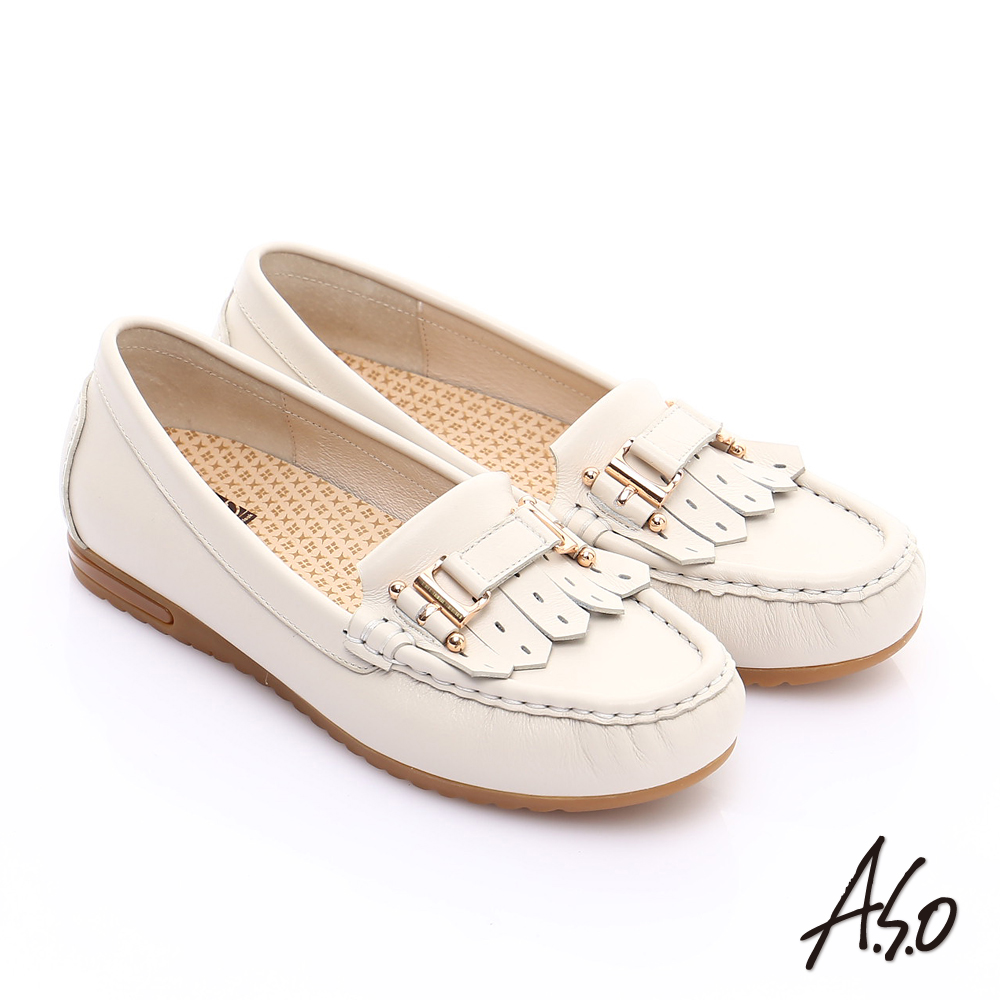 A.S.O 縫線耐走 牛軟皮奈米樂福休閒鞋 米色
