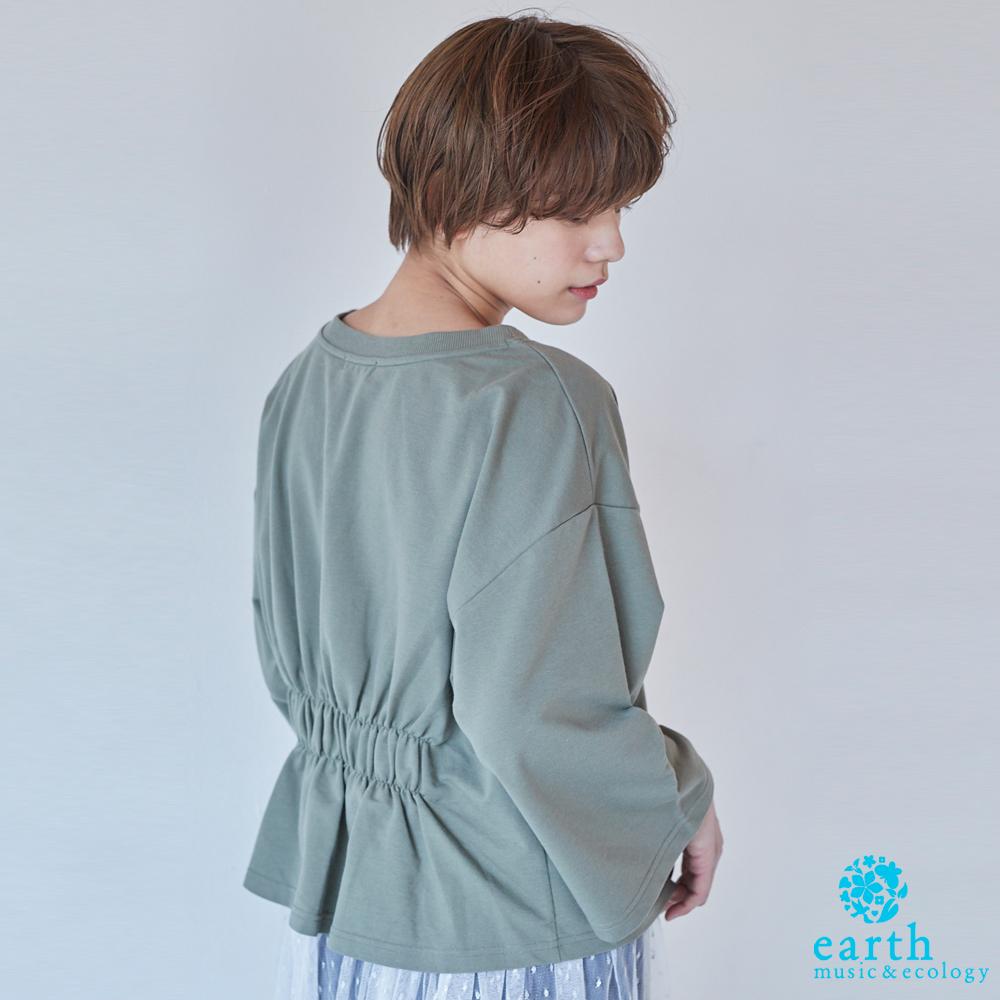 earth music 後腰際抓皺設計落肩寬袖上衣