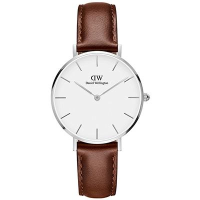 DW Daniel Wellington 經典聖莫斯棕色皮帶腕錶-銀框/32mm