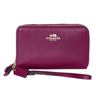 COACH-紅莓紫防刮皮革金字內花紋雙層掛式中夾