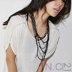 N.C21-正韓 多層次混搭十字架項鍊 (黑色)